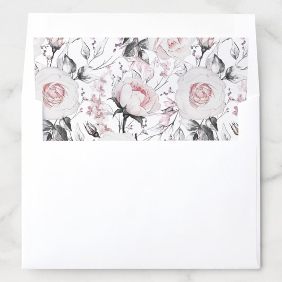 Blush Pink Roses Greenery | Envelope Liner