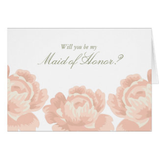 Blush Pink Roses Maid of Honor Cards