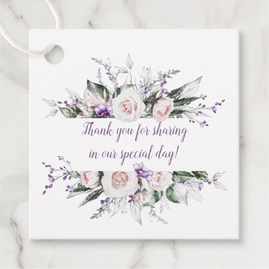 Blush Pink Roses Purple Wildflowers Frame Wedding Favor Tags