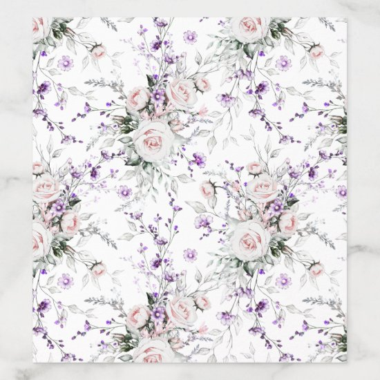 Blush Pink Roses Purple Wildflowers Greenery | Envelope Liner
