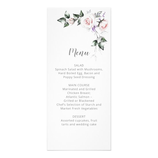 Blush Pink Roses Purple Wildflowers Wedding | Menu