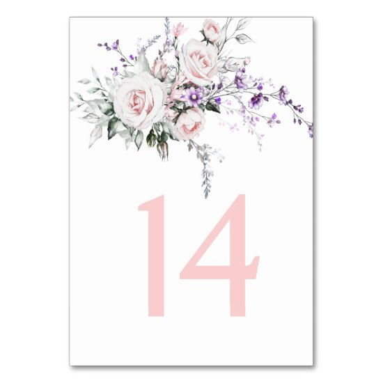 Blush Pink Roses Purple Wildflowers  Wedding | Table Number