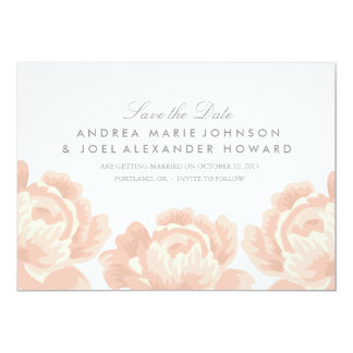 Blush Pink Roses Wedding Save the Date 5x7 Paper Invitation Card