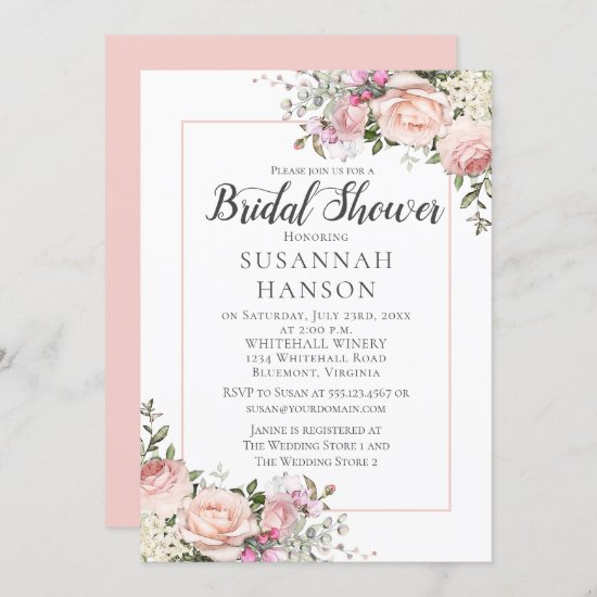 Blush Pink Roses White Hydrangeas Bridal Shower Invitation