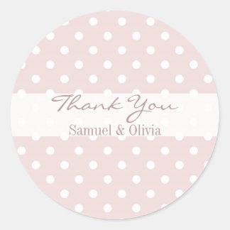 Blush Pink Round Custom Polka Dotted Thank You Classic Round Sticker