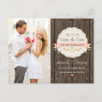 BLUSH PINK RUSTIC FLORAL BOHO SAVE THE DATE ANNOUNCEMENT POSTCARD