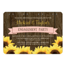 BLUSH PINK RUSTIC SUNFLOWER ENGAGEMENT PARTY CARD