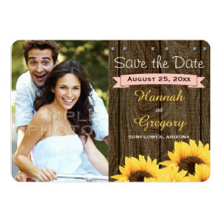 BLUSH PINK RUSTIC SUNFLOWER SAVE THE DATE CARD