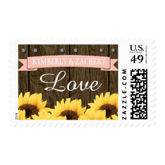 BLUSH PINK RUSTIC SUNFLOWER WEDDING LOVE STAMPS