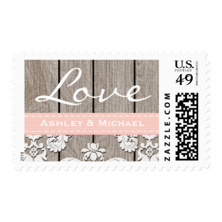 Blush Pink Rustic Wood Lace Love Wedding Postage