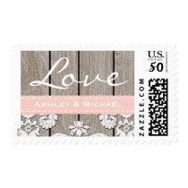 Blush Pink Rustic Wood Lace Love Wedding Postage