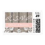 Blush Pink Rustic Wood Lace RSVP Postage Stamps