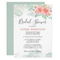 Blush Pink Sage Floral Geometric Bridal Shower Invitation