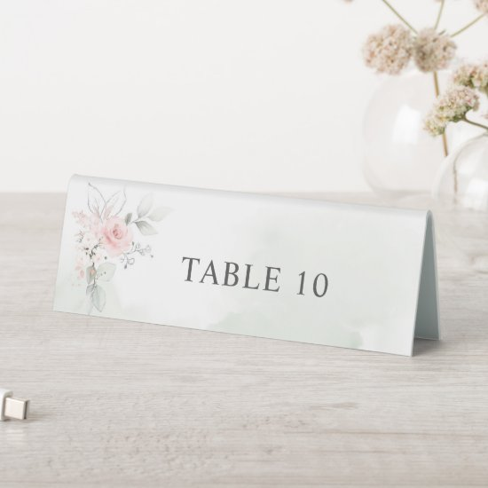 Blush Pink Sage Green Floral Watercolor Wedding Table Tent Sign