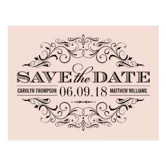 Blush Pink Save the Date | Swirl and Flourish Post Cards