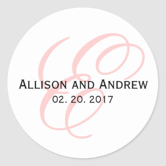 Blush Pink Script Initial E Monogram Wedding Favor Classic Round Sticker