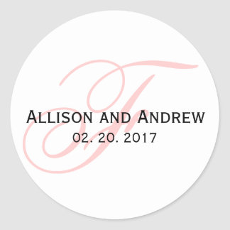 Blush Pink Script Initial F Monogram Wedding Favor Classic Round Sticker