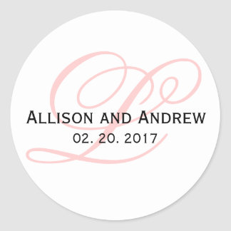 Blush Pink Script Initial L Monogram Wedding Favor Classic Round Sticker