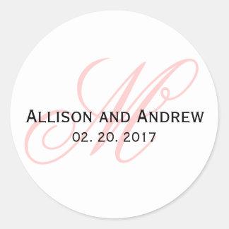 Blush Pink Script Initial M Monogram Wedding Favor Classic Round Sticker