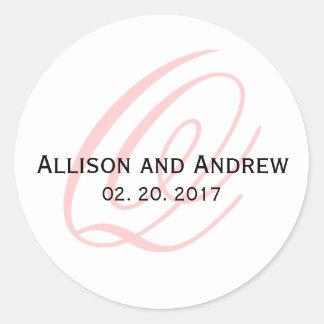 Blush Pink Script Initial Q Monogram Wedding Favor Classic Round Sticker