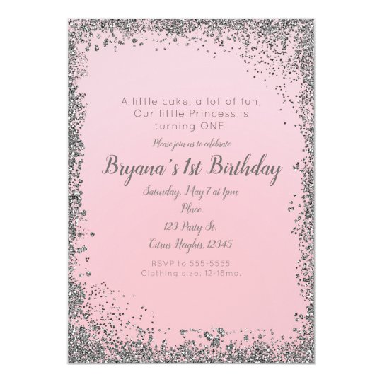 blush pink silver glitter glam 1st birthday party invitation