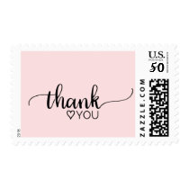 "Blush Pink Simple Calligraphy ""Thank You"" Wedding Postage"