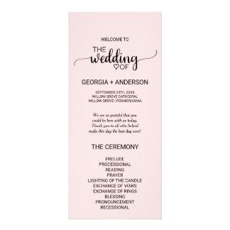 Blush Pink Simple Calligraphy Wedding Program