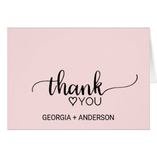 Blush Pink Simple Calligraphy Wedding Thank You Card