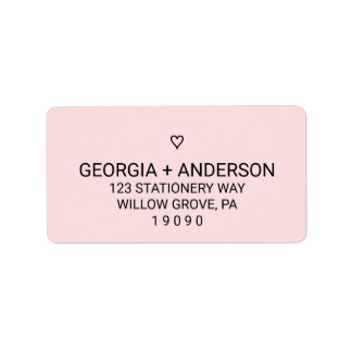 Blush Pink Simple Heart Wedding Label