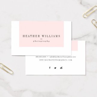 Blush Pink Social Media Business Cards
