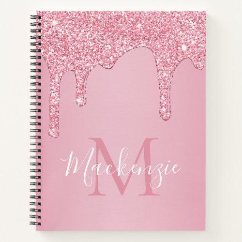 Blush Pink Sparkle Glitter Drips Monogram Notebook