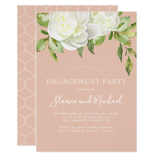 Blush Pink Spring Floral Peony Engagement Party Card