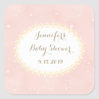 Blush Pink Star Leaves Baby Shower Stickers