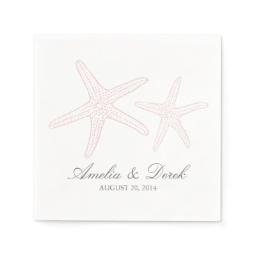 Beach Themed Blush Pink Starfish Cocktail Napkins