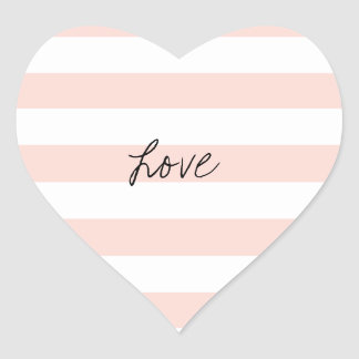 Blush Pink Stripe Heart Stickers