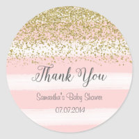 Blush Pink Stripes Baby Shower Sticker