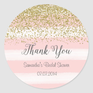 Blush Pink Stripes Bridal Shower Sticker