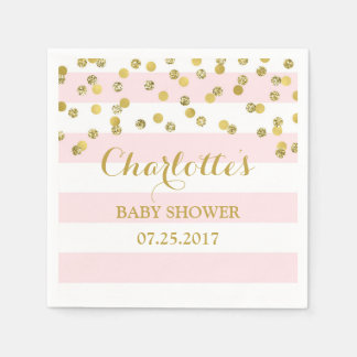 Blush Pink Stripes Gold Confetti Baby Shower Paper Napkin