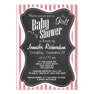 "Blush Pink Stripes; Retro Chalkboard look 4.5"" X 6.25"" Invitation Card"