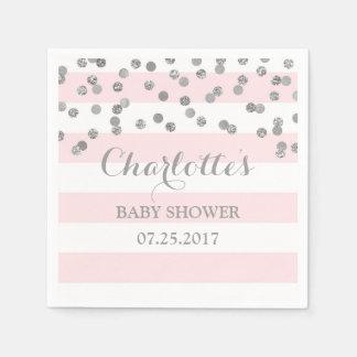 Blush Pink Stripes Silver Confetti Baby Shower Napkin