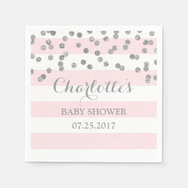 Toddler & Baby themed Blush Pink Stripes Silver Confetti Baby Shower Napkin