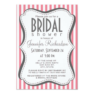 "Blush Pink Stripes; Striped 4.5"" X 6.25"" Invitation Card"