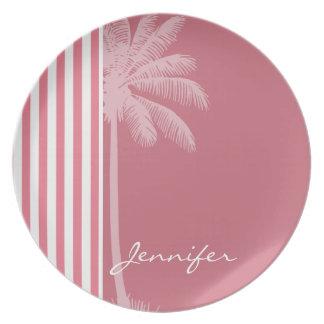 Blush Pink Stripes; Summer Palm Dinner Plates