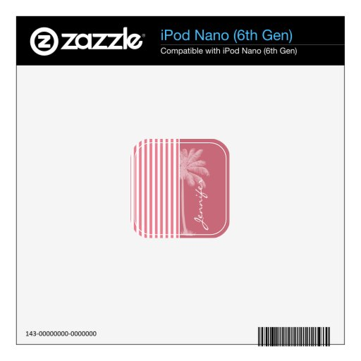 Blush Pink Stripes; Summer Palm Decal For The iPod Nano