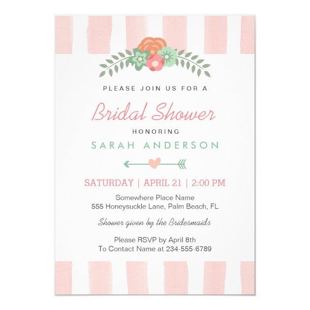 Blush Pink Stripes Watercolor Floral Bridal Shower 5x7 Paper Invitation Card