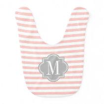 Blush Pink Stripes with Gray Monogram Baby Bib