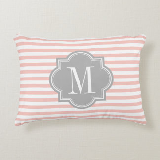 Blush Pink Stripes with Gray Monogram Decorative Pillow