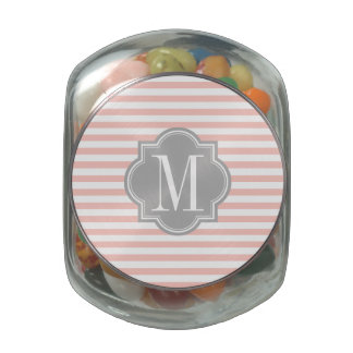 Blush Pink Stripes with Gray Monogram Jelly Belly Candy Jars