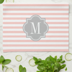 Blush Pink Stripes with Gray Monogram Kitchen Towel