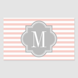 Blush Pink Stripes with Gray Monogram Rectangular Sticker